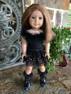 Black Knit Leggings w//Sequin Trim fits 18 inch American Girl Doll Clothes