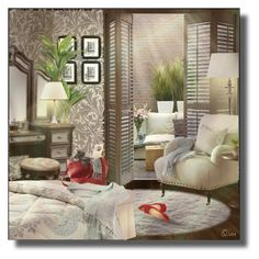A home decor collage from March 2018 featuring storage furniture, nickel lamp and thistle wallpaper. Decor, Interior Design, Furniture, Bed, Home, Interior, Home Decor