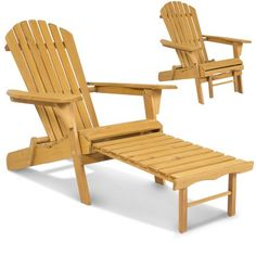 Outdoor Adirondack Wood Chair Foldable w/ Pull Out Ottoman Patio Deck Furniture - Walmart.com