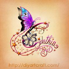 Nome femminile Cynthia hibiscus e farfalla idea tattoo diyartcraft.it