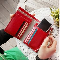 Vintage-styled Wallet - with lots of useful pockets; even fits two phones if you want to keep them in your wallet