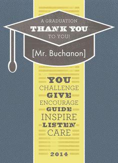 Graduation Teacher Thanks Card