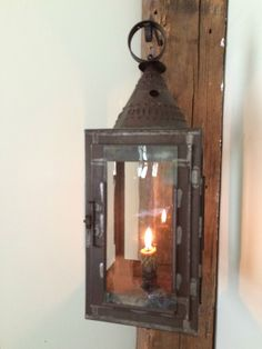 Early American 19thC candle lantern - early glass * ebay.