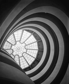 """Ezra Stoller, Inside View of Guggenheim Museum designed by Frank Lloyd Wright, New York, 1959 "" Frank Lloyd Wright, Museum Architecture, Classical Architecture, Art And Architecture, Organic Architecture, Moma, Architectural Photographers, Design Museum, Art Museum"