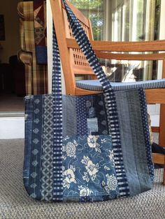 """RMM Quilt: The Everything Tote, Missouri Star Quilt pattern using Moda Indigo and Hearty Good Wishes fabrics. 18x21x3""""--this is a really big bag!"""