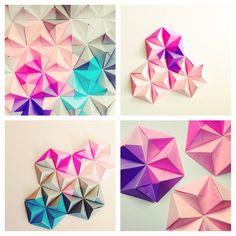 Sonobe unit origami wall art by Coco Sato, as featured in Design Sponge.