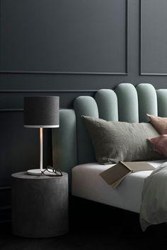simply beautiful! calm tones and natural linen's.  Photo via @pinterest  #interiordesign #interiordecoration #bedroomstyling #mutedcolour #velvetbedframe #pastel #sagegreen #northshoreinteriordesigners #woodsandwarner