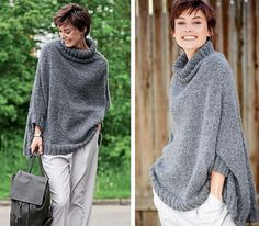 Gray poncho with a golf collar - knitting scheme with a description on Verena. Booties Outfit, Poncho Outfit, Crochet Baby Pants, Crochet Poncho, Poncho Knitting Patterns, Knitting Designs, Grey Poncho, Summer Knitting, Casual Skirt Outfits
