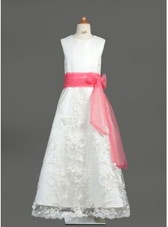A-Line/Princess Scoop Neck Floor-Length Organza Satin Lace Flower Girl Dress With Sash from JJ's House, Bridal & bridal accessories.  www.jjshouse.com We ship to Australia, Canada, U.K. New Zealand, Switzerland, Norway, Russia, Brazil, Netherlands & the USA.   Please mention that you found them thru Jevel Wedding Planning's Pinterest Account.  Keywords: #flowergirldresses #jevelweddingplanning Follow Us: www.jevelweddingplanning.com  www.facebook.com/jevelweddingplanning/