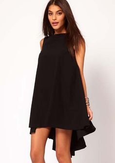 So CUTE! Love Love Love this LBD! Chic and Stylish Black Irregular Sleeveless Above Knee Chiffon Dress #HiLo #LBD #Fashion