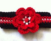 Crochet Ladybug Headband, Red and Black Baby Headband, Red Flower Headband, Ready to ship