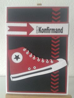 Die namics All star converse shoe card Confirmation Cards, Best Wishes Card, Boy Cards, Marianne Design, Card Making Inspiration, Card Sketches, Masculine Cards, Homemade Cards, All Star