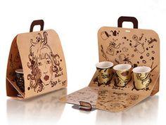 Kraft Card Takeaway Coffee Packaging Bag (PA-030)