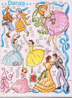 0 point de croix danseuses - cross stitch dancers