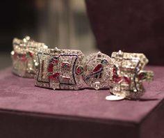 """Elizabeth Taylor Exhibition - Art Deco Egyptian The King Farouk Revival Bracelet Made circa 1925"" (quote) via pricescope.com"
