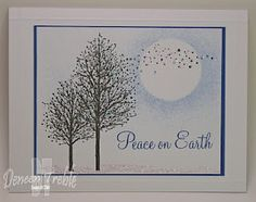 Quick Christmas Card, Penny Black Snow Dust Stamp, using a circle mask for the moon, and sponging on ink.