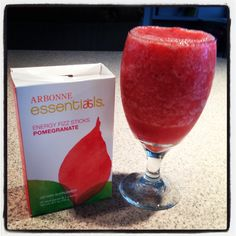 ARBONNE pomegranate fizzy stick , water And frozen strawberries and blend !!!