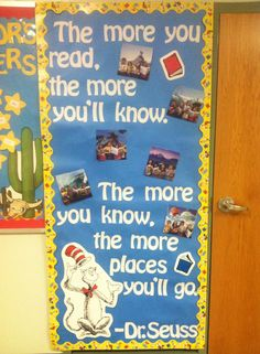 Super Ideas For Dr Seuss Classroom Door Ideas Children Classroom Door, Classroom Themes, School Classroom, Classroom Displays Ks2, Class Displays, School Displays, Library Displays, Reading Display, Book Corner Display