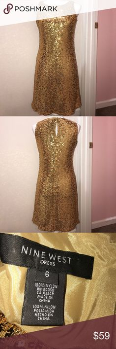 Nine West Gold Sequin Dress Size 6 Size 6 Nine West Dresses