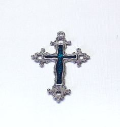 Silver Ornate Cross Pendant With Green Enamel In by BeadsFromHaven, $1.05