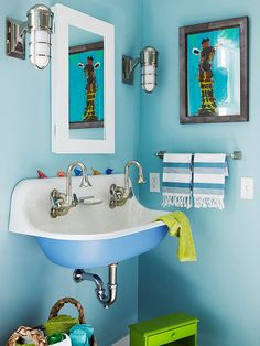 A wall-mount sink is functional and it doesn't eat up a lot of space like a bulky vanity! http://www.bhg.com/bathroom/vanities/small-bathroom-vanities/small-bathroom-vanity-ideas/?socsrc=bhgpin121214clevercombo&page=10