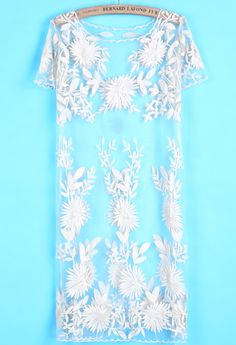 White Short Sleeve Embroidered Lace Dress