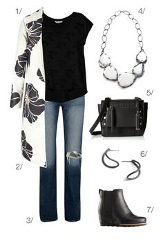 black and white bold floral coat, jeans, black t-shirt, and bold bib necklace // click through to shop this outfit