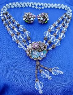 Vintage Sgnd Miriam Haskell Crystal Art Glass Lariat Necklace and Earrings Set   eBay