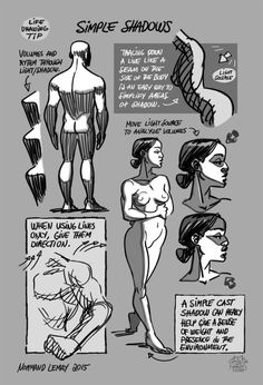 """Tuesday Tips - SIMPLE SHADOWS Whenever I have a bit more time on a pose (5 min or more), I try to add some tone to add volume and solidity to the pose. I try to spot and create large shapes and fill them, kinda like a """"paint by number"""" exercise. This way , if the pose ends, I still have the info of where to complete the shadows. Try it out. -n"""
