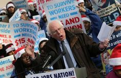"""""""A job should lift workers out of poverty, not keep them in it"""" - @SenSanders #FightFor15 #BernieSandersForPresident"""