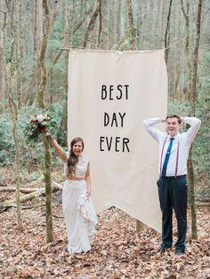 Fun photo backdrop for a wedding