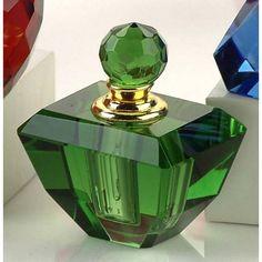 Translucent Jade Green Crystal Perfume Bottle