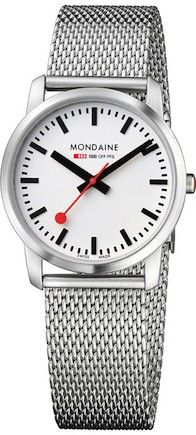 Mondaine brushed stainless steel case, sapphire mineral glass crystal, white dial with black hands and markers Mesh Bracelet, Bracelet Watch, Swiss Railways, Best Watches For Men, Elegant Watches, Stainless Steel Mesh, Jewelry For Her, Design, Wedding Watches