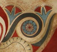 Detail from the Throne Room in the Palace of Knossos unearthed in 1900 by British archaeologist Arthur Evans, during the first phase of his excavations in Knossos in the center of the palatial complex and west of the central court