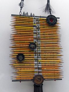 Pencil Art  - A necklace called Protection #4, by Kiff Slemmons. Made of silver, pencils, American nickels (coins), leather, horsehair, and pencil shavings. Part of the Jewelry by Artists exhibition Museum Of Fine Arts Boston