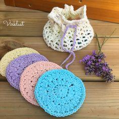 Ravelry: Face pads & Mesh bag pattern by Karin Åshammar/Virklust Small Crochet Gifts, Diy Crochet, Crochet Baby, Yarn Projects, Crochet Projects, Baby Knitting Patterns, Crochet Patterns, Bag Pattern Free, Crochet Faces