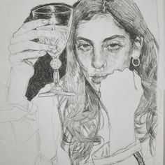 My camera kind of sucks in the dark but that's okay. I'm maybe halfway done with this. Im glad. That glass? It's called a wip for a reason, my good friends! drawing in a month Ref: Kunst Inspo, Art Inspo, Art And Illustration, Illustrations, Art Sketches, Art Drawings, Arte Sketchbook, Pretty Art, Traditional Art