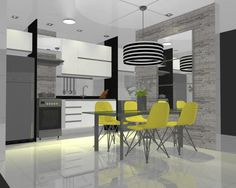 Cozinha + Sala de Jantar, Projeto feito para um casal de clientes que queriam cores neutras, mas queriam um toque de amarelo. Promob.