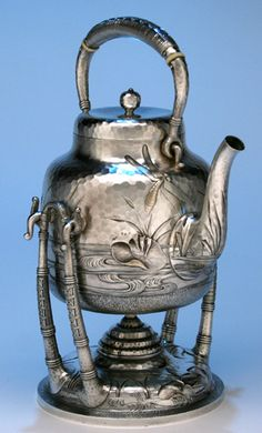Kettle of Dominick & Haff Japanesque Sterling Silver Coffee & Tea Service, 1881 (spencer marks)