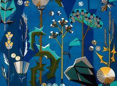 Tistlar, blue - Union linen - Hand printed textile & interior decoration @ Jobs handtryck