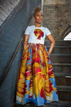 A F I Y A Belle Maxi African Print Skirt by LiLiCreations on Etsy ~Latest African fashioh African Inspired Fashion, African Dresses For Women, African Print Fashion, African Attire, African Wear, African Women, Fashion Prints, African Style, African Print Skirt
