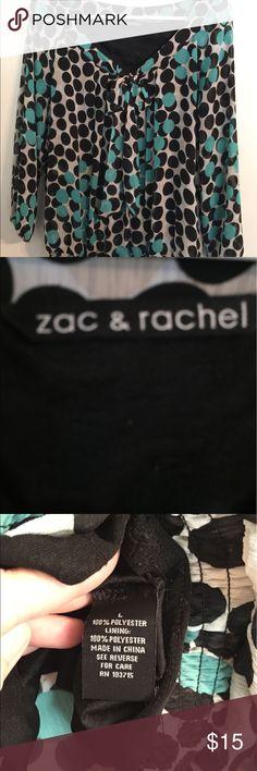 Sac & Rachel Polka Dot Blouse So pretty polka dot Blouse.  Has elastic waist and also sleeves.  Great condition!! Zac & Rachel Tops Blouses