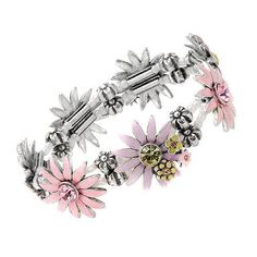 Brand New Cute Flower Bracelet Precious Stones Genuine Crystals Glass Beads Crystal Jewelry, Crystal Beads, Glass Beads, Crystals, Diamond Bracelets, Jewelry Bracelets, Jewellery, Glass Bead Crafts, Flower Bracelet