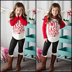 Girls Sweet Sassy Southern Baseball Tee Red - Ryleigh Rue Clothing by MVB
