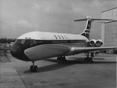 Vickers Standard VC10 (Series 1100) G-ARTA (c/n: 803) outside the Vickers factory hangar at the Brooklands airfield in Weybridge Surrey, subsequent to roll out on 15 April 1962, but prior to the first flight (29 June 1962). Note that the aircraft is still wearing the old black-and-white BOAC livery, which would remain current until early 1964.