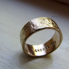 Men's Wedding Band - 14k Gold Unique Rustic Distressed Ring - tinahdee beautiful jewelry