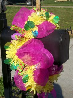 Pink and Yellow Easter Mesh Mailbox Swag