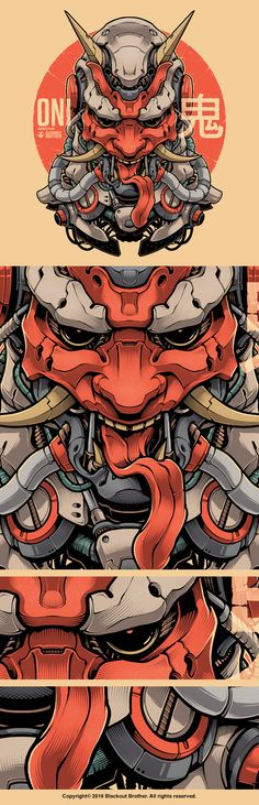 Oni Mecha - Japanese Demon in highly detailed art Hannya Samurai, Samurai Tattoo, Illustration Vector, Character Illustration, Japanese Demon Mask, Arte Grunge, Oni Mask, Samurai Artwork, Spaceship Design