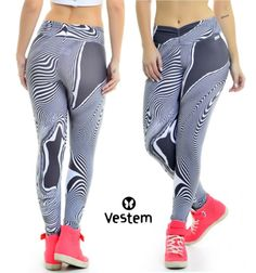 These leggings have a cool black and white swirl pattern.  The waistband has a cinched design that sits smoothly against the waist perfectly flattering any shape without pinching.  These leggings are made of AMNI®, a technological and super light fabric that provides greater comfort, flexibility and breath-ability to the wearer.