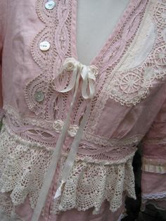 ROMANTIC.. upcycled jacket, Vintage Kitty ..gorgeous dusky pink linen.. doilies, lace, roses..  MED/LG